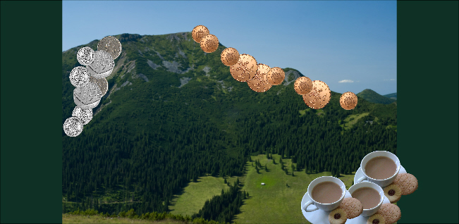 Coin mountain coffee morning