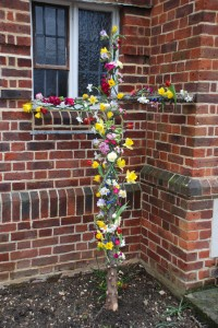 Flowered cross taken outside