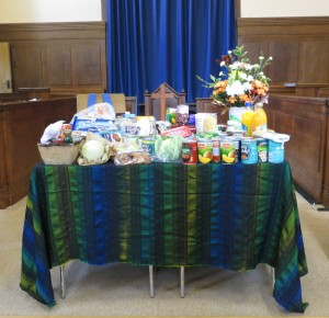 Harvest food offerings display